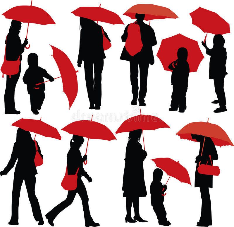 folkparaplyer vektor illustrationer