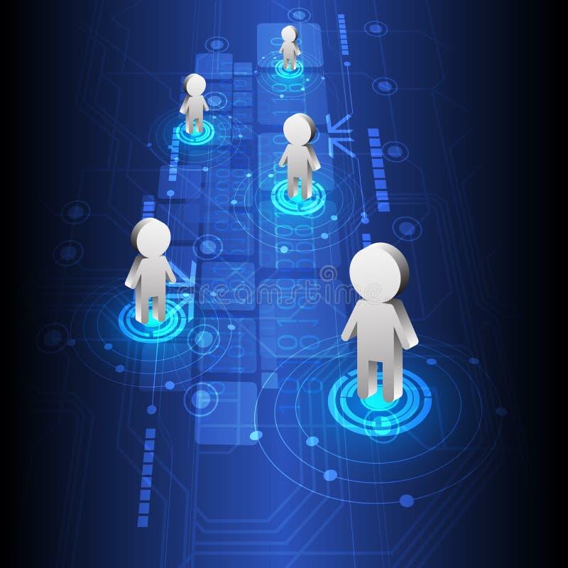 Folkplacering och teknologi stock illustrationer