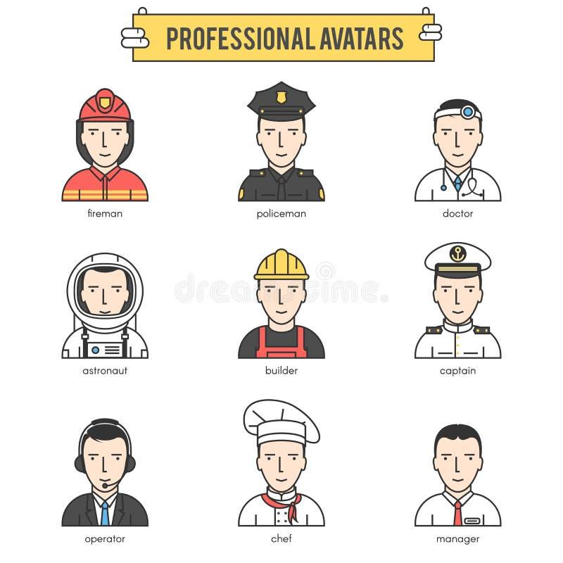 Folkprofessionellavatars stock illustrationer