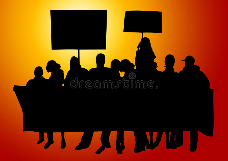 Folkprotest stock illustrationer