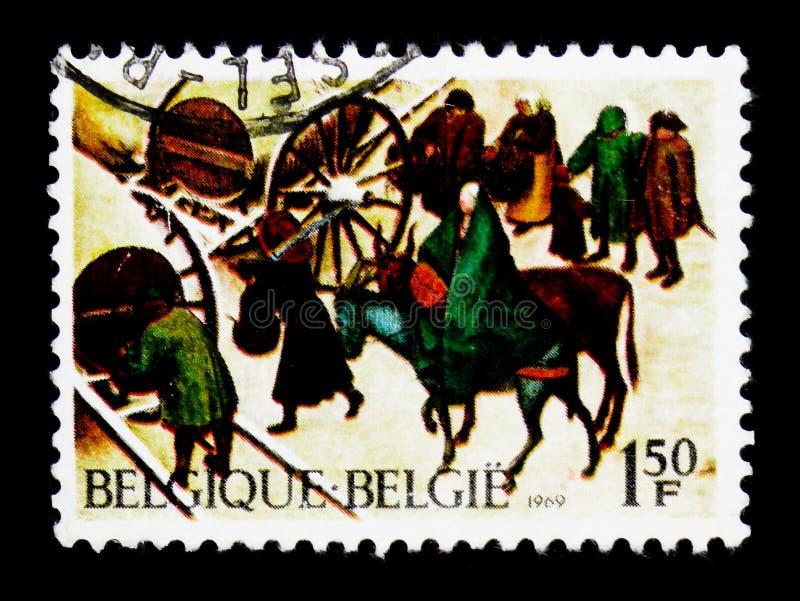 Folkräkning av befolkning Betlehem, julserie, circa 1969 royaltyfria foton