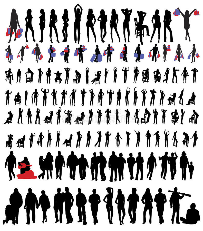 folksilhouettes royaltyfri illustrationer