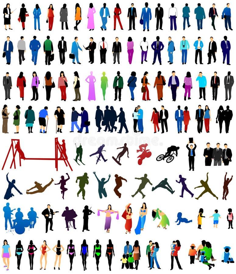 folksilhouettes stock illustrationer