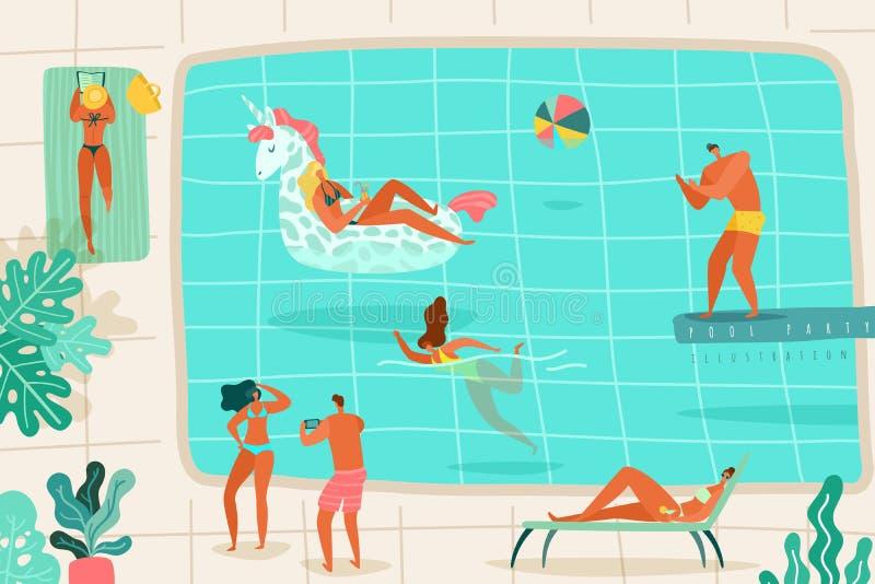 Folksimbass?ng Personer som kopplar av sommarp?lbadet som dyker hoppet som solbadar den f?rgrika l?genheten f?r dagdrivarepartise stock illustrationer
