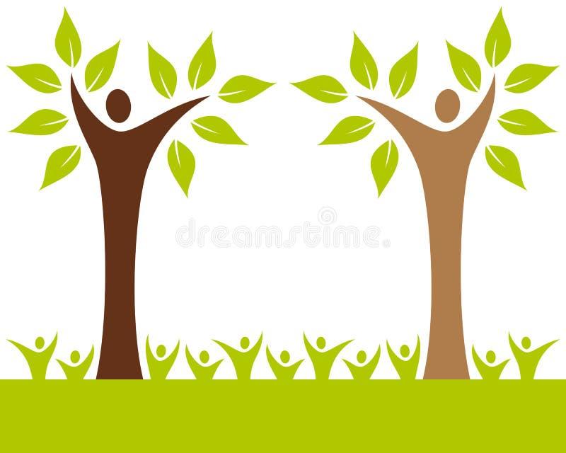 Folkstamträd royaltyfri illustrationer