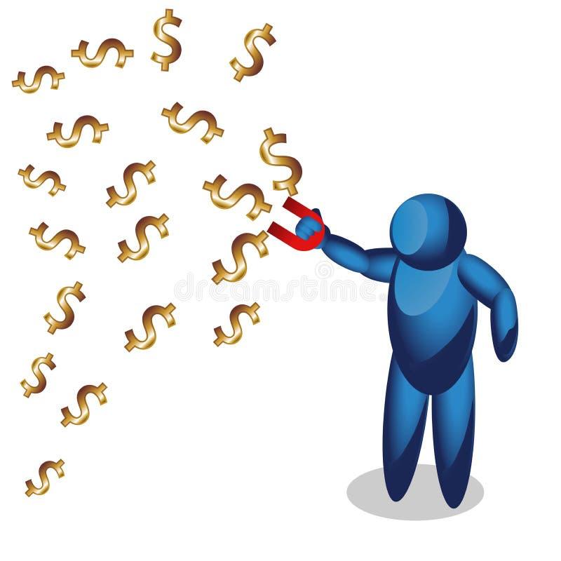 Folksymbolen med magneten suger pengar modern idé Affär för begreppsvektorillustration vektor illustrationer