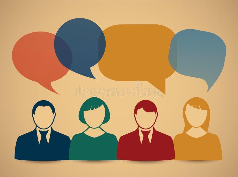 Folksymboler med färgrika dialoganförandebubblor royaltyfri illustrationer