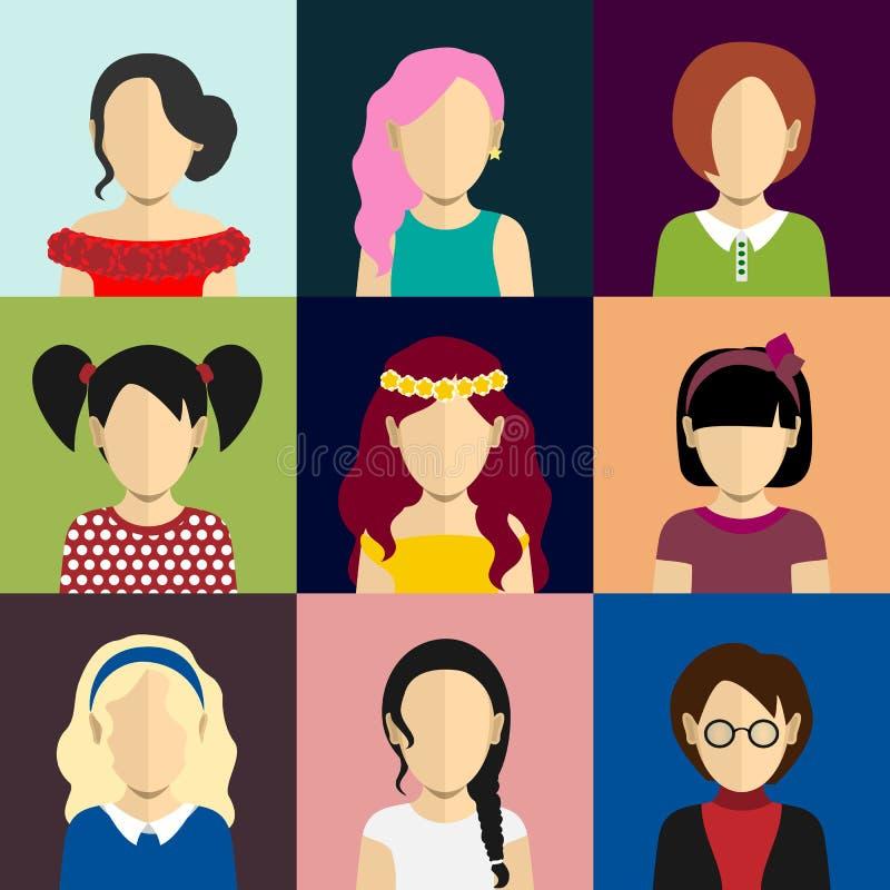 Folksymboler ställde in i plan stil med framsidor av kvinnor royaltyfri illustrationer