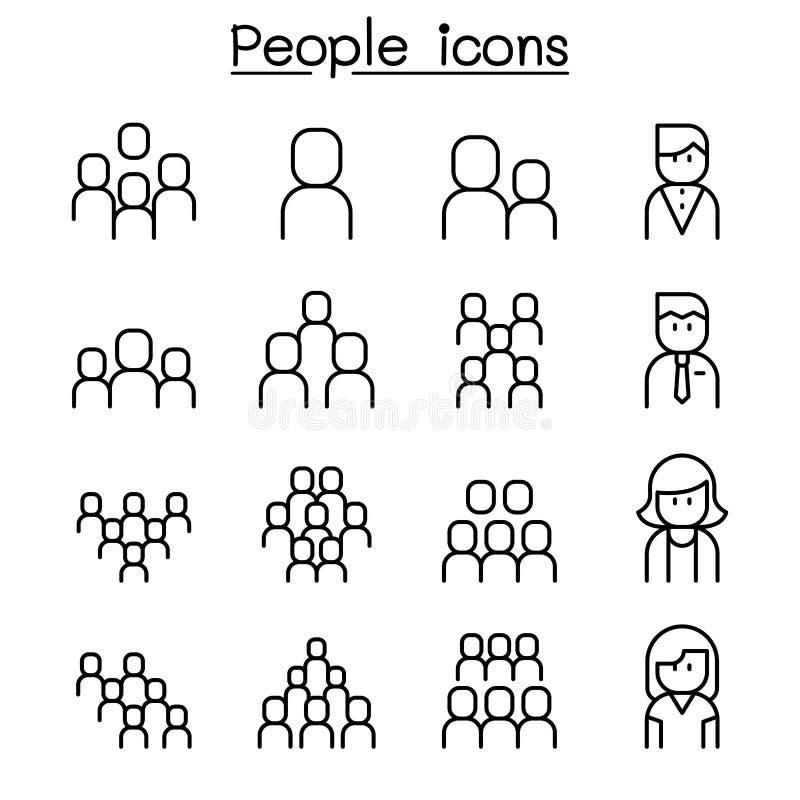 Folksymbolsuppsättning i den tunna linjen stil royaltyfri illustrationer
