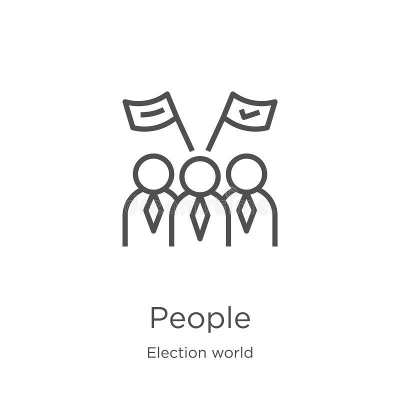 folksymbolsvektor från valvärldssamling Tunn linje illustration för vektor för folköversiktssymbol Översikt tunn linje folk royaltyfri illustrationer