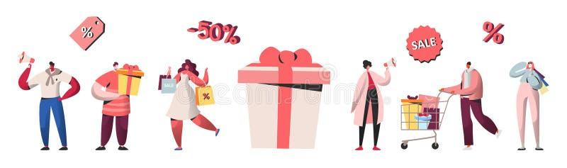 Folktecken som shoppar på försäljning, rabatt, köpandegåvor och gåvor Direktanslutet shoppa, mobil marknadsföring och köp vektor illustrationer