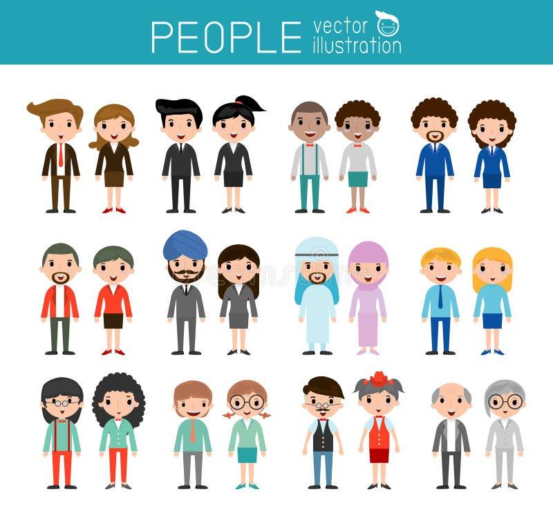 Folktecken, stor grupp människor, vektorbakgrund stock illustrationer