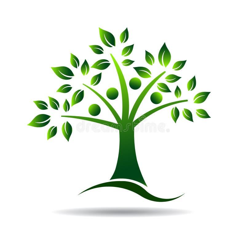 Folkträdlogo. Begrepp för stamträd som är naturligt stock illustrationer