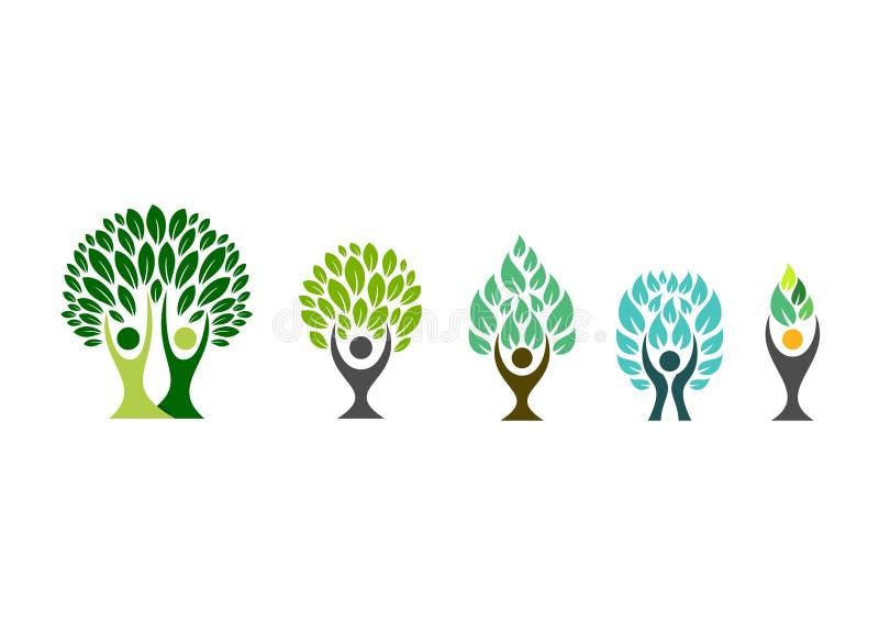 Folkträdlogo, wellnesssymbol, vektor för fastställd design för symbol för kondition sund royaltyfri illustrationer
