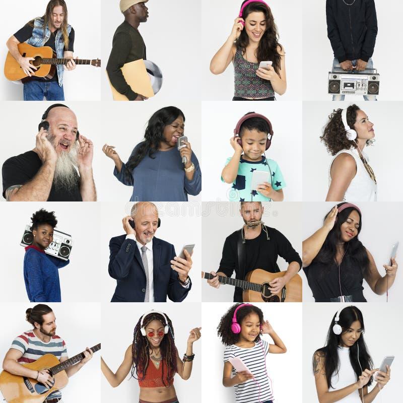 Folkuppsättning av mångfaldfolk som tycker om musikstudiocollage royaltyfria foton