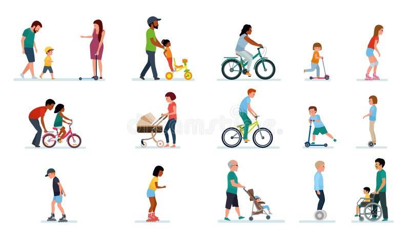 Folkutveckling Folket åldras allra i parkera Uppsättning av illustrationer av folk som går i parkera, på cykeln, på vektor illustrationer