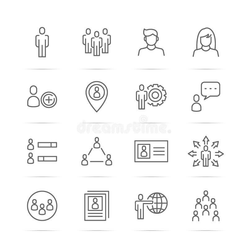 Folkvektorlinje symboler royaltyfri illustrationer