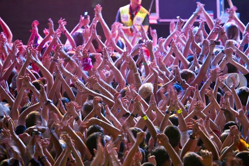 Folla Al Concerto Di Roccia Fotografia Stock