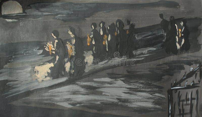 Folla al funerale, illustrazione illustrazione vettoriale