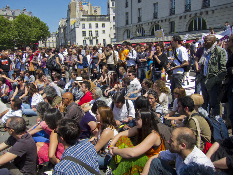 Folla che dimostra in giro dello Spagnolo di sostegno immagine stock libera da diritti
