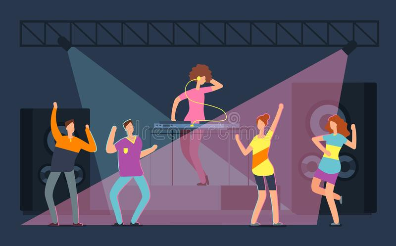 Folla dei giovani che dencing sulla pista da ballo Ragazze e ragazzi del fumetto in night-club Vita notturna sul concetto di vett illustrazione vettoriale