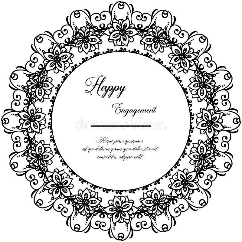Folla del fiore e della foglia, con la decorazione del telaio, per la carta della carta da parati dell'impegno felice Vettore illustrazione di stock