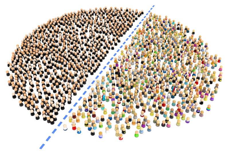 Folla del fumetto, divisa in due illustrazione di stock