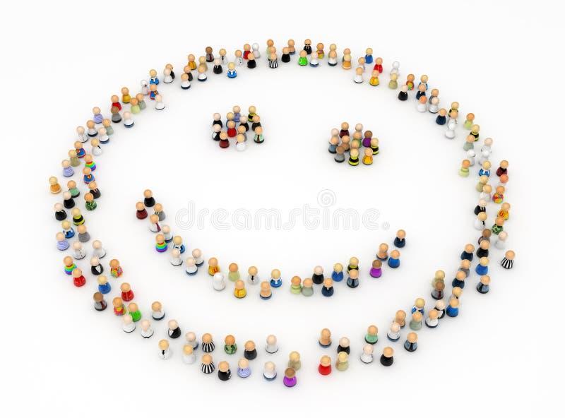 Folla del fumetto, figura di smiley illustrazione di stock