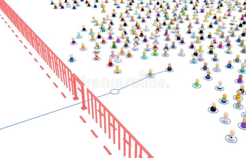 Folla del fumetto, valico di frontiera di collegamento illustrazione vettoriale