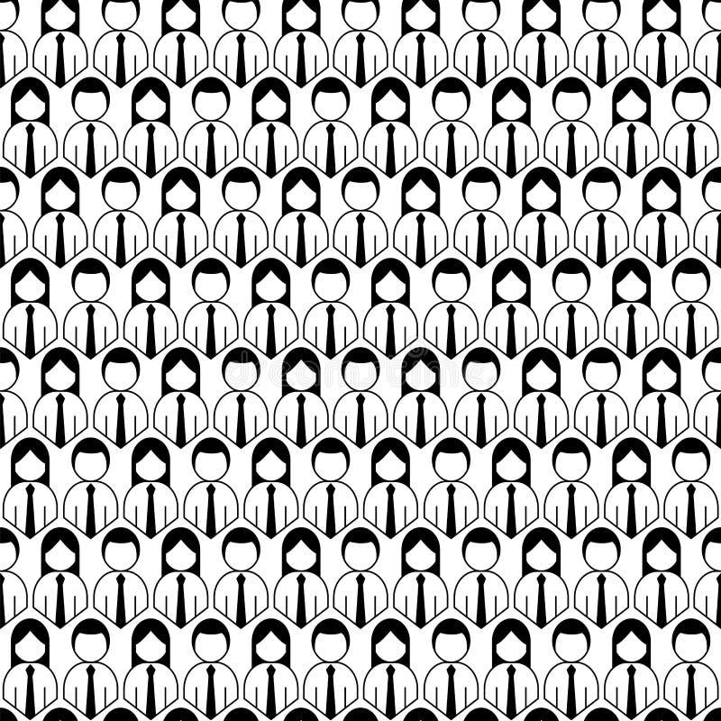 Folla del modello senza cuciture dell'icona della gente illustrazione di stock