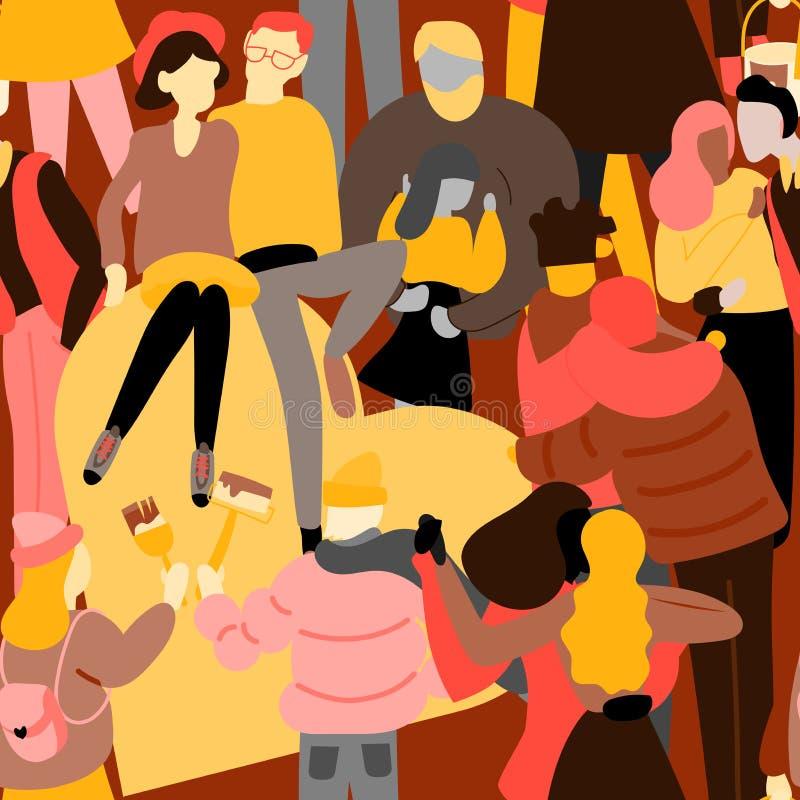 Folla del modello senza cuciture della gente Uomo e donna minuscoli Corsa lesbica gay eterosessuale della miscela delle coppie di illustrazione vettoriale