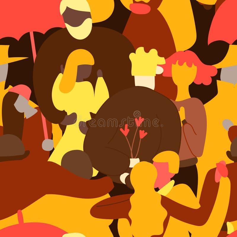 Folla del modello senza cuciture della gente Uomo e donna minuscoli Corsa lesbica gay eterosessuale della miscela delle coppie di royalty illustrazione gratis