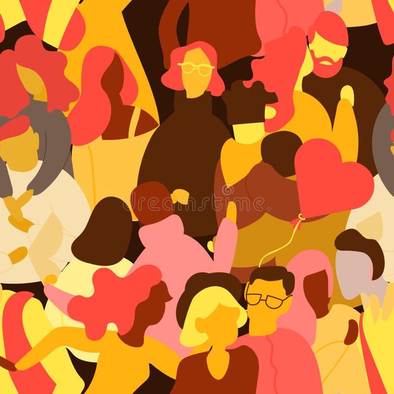 Folla del modello senza cuciture della gente Uomo e donna minuscoli Corsa lesbica gay eterosessuale della miscela delle coppie di illustrazione di stock