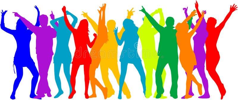 Folla del partito, siluette della gente - colore illustrazione vettoriale