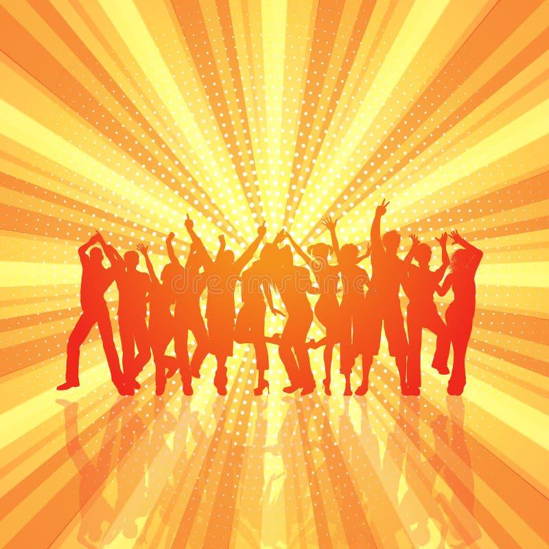 Folla del partito sul retro fondo dello starburst illustrazione vettoriale