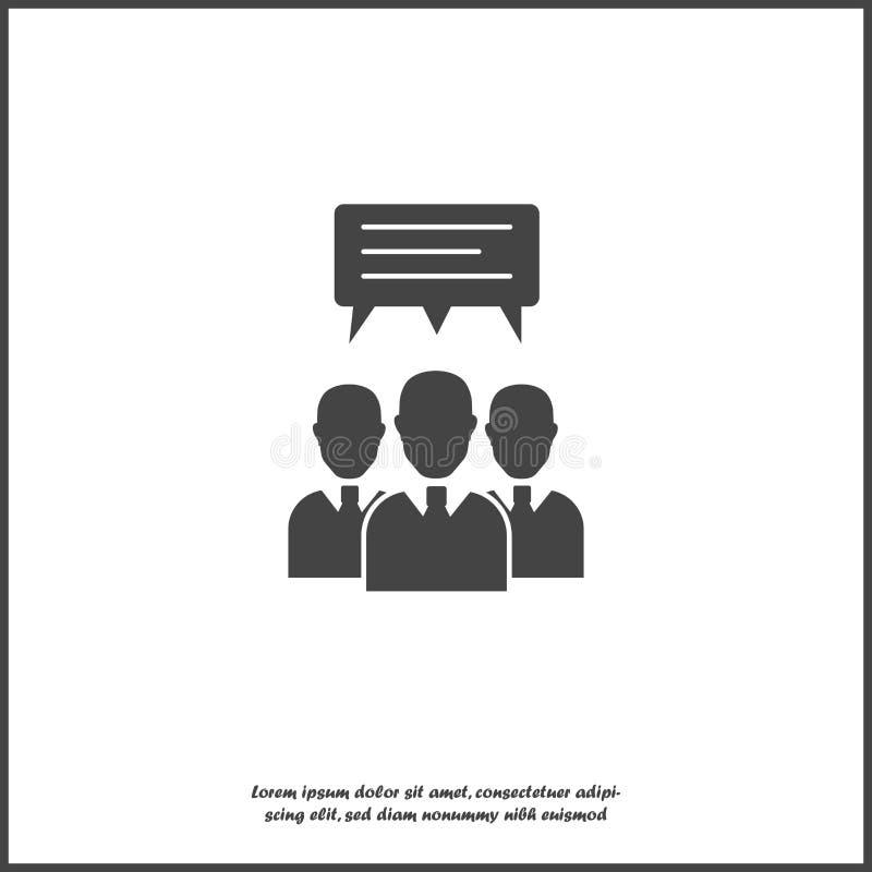 Folla dell'icona di vettore dell'uomo d'affari Molta gente Il gruppo di persone chiacchiera, icona del messaggio su fondo isolato illustrazione vettoriale