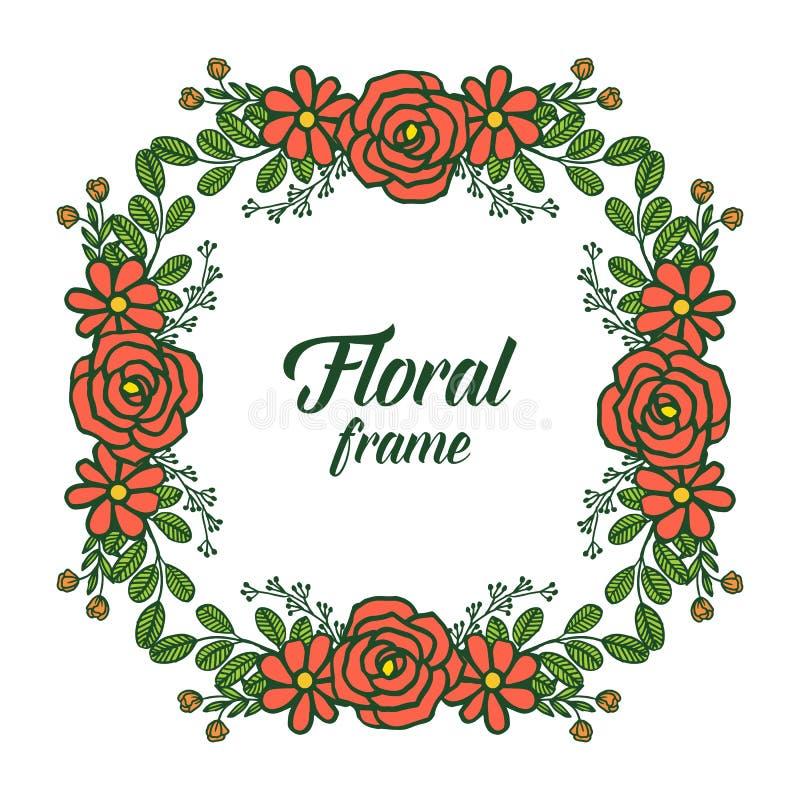 Folla dell'illustrazione di vettore del telaio floreale arancio rosa con le carte dell'invito royalty illustrazione gratis