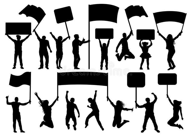 Folla dell'insieme della siluetta della gente Insegna, trasparenza, bandiera Concerto, sport, partito, dimostrazione illustrazione vettoriale