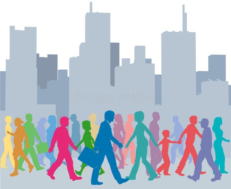 Folla della città della camminata di colori della gente illustrazione di stock