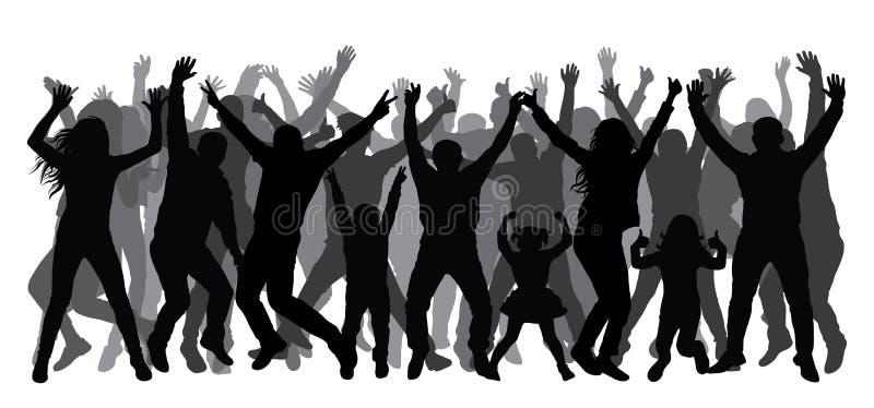 Folla della gente che applaude, siluetta La gente di Dancing illustrazione di stock
