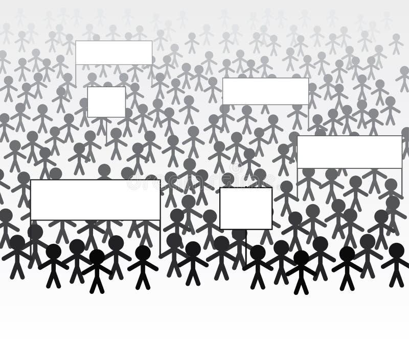 Folla della gente che marcia per protestare illustrazione vettoriale