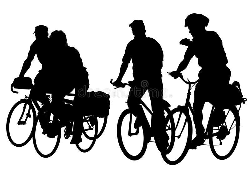 Folla della gente del ciclista illustrazione vettoriale