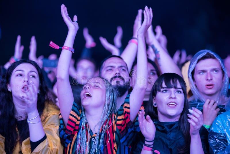 Folla della gente incoraggiante che gode di un concerto in tensione immagini stock