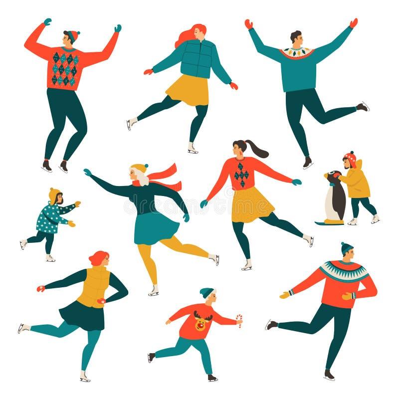 Folla della gente minuscola vestita in pattinaggio su ghiaccio dei vestiti di inverno sulla pista di pattinaggio Uomini, donne e  royalty illustrazione gratis