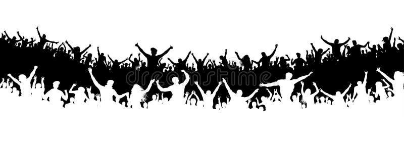 Folla della gente nello stadio Folla dei fan di sport Vettore della siluetta insegna, manifesto illustrazione vettoriale