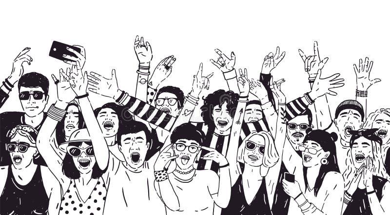 Folla della gente o dei fan della musica emozionanti con le mani sollevate Spettatori o pubblico del festival dell'aria aperta di illustrazione vettoriale
