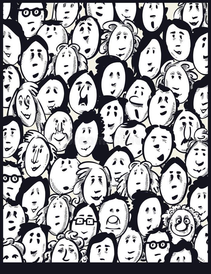 Folla della gente - personaggi dei cartoni animati illustrazione di stock