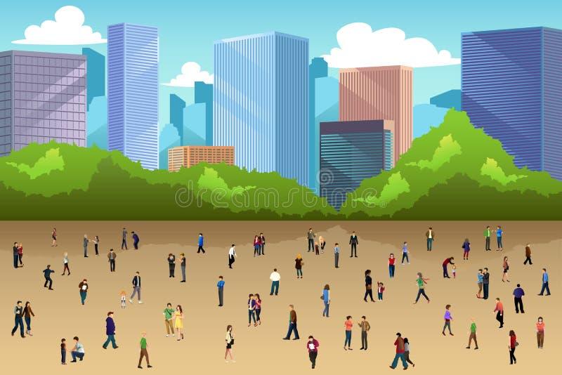 Folla della gente in un parco nella città illustrazione di stock