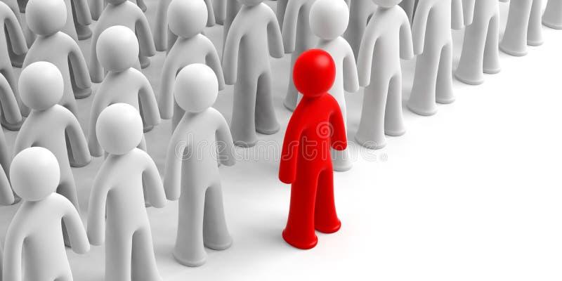 Folla delle figure umane bianche, una figura rossa avanti, su fondo bianco, spazio della copia illustrazione 3D illustrazione di stock