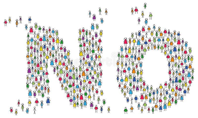 Folla delle figure variopinte del bastone, uomini e donne che modellano la parola NO, concetto di lavoro di squadra illustrazione vettoriale